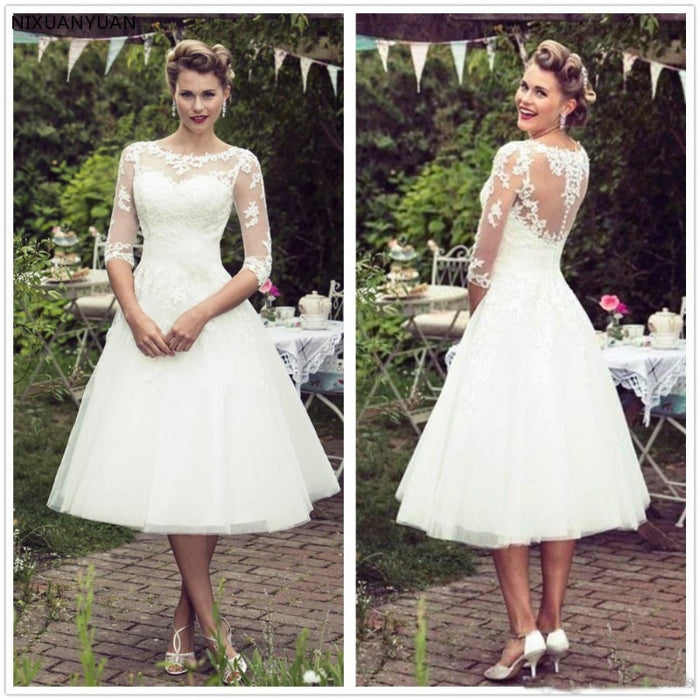 Vintage 50's Style Short Lace Wedding Dresses Half Sleeves Tulle Lace