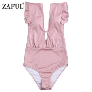 ZAFUL 2019 New Women Frilled One Piece Plunge Swimsuit Sexy High Waist Plunging Neck Solid Swim Bathing Suit Monokini Swimwear