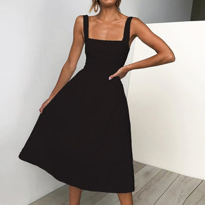Women Sexy Backless Dresses Spaghetti Strap Summer Dress 2019 Ladies Casual Slip Dresses Woman Sundress Vestidos Black Red Dress