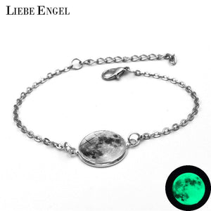 LIEBE ENGEL Glowing In The Dark Galaxy Small Moon stainless Bracelet