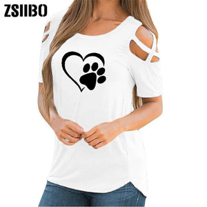 ZSIIBO  Cute Short Sleeve T Shirt Women Summer Paw Printed Strappy Tee Shirt Casual Cold Shoulder Tops drop shipping