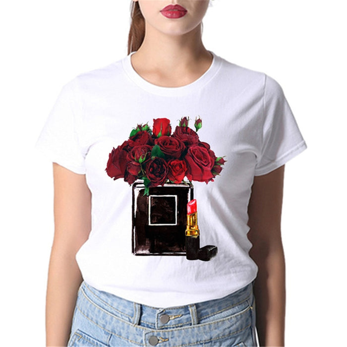 Vogue Style Women Round Neck White T-shirt Harajuku Short Sleeve Top Tees Girlfriend Gift