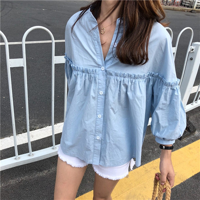 Alien Kitty Womens Solid Light Blue Sweet Shirt Girls New Summer Tops Loose Casual