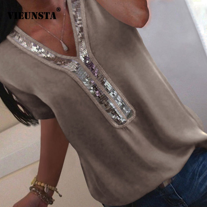 VIEUNSTA Women S-5XL Sequins V-neck Chiffon Blouse 2019 Summer Short Sleeve Office Lady Blouses Tops Plus Size Femme Shirt Blusa