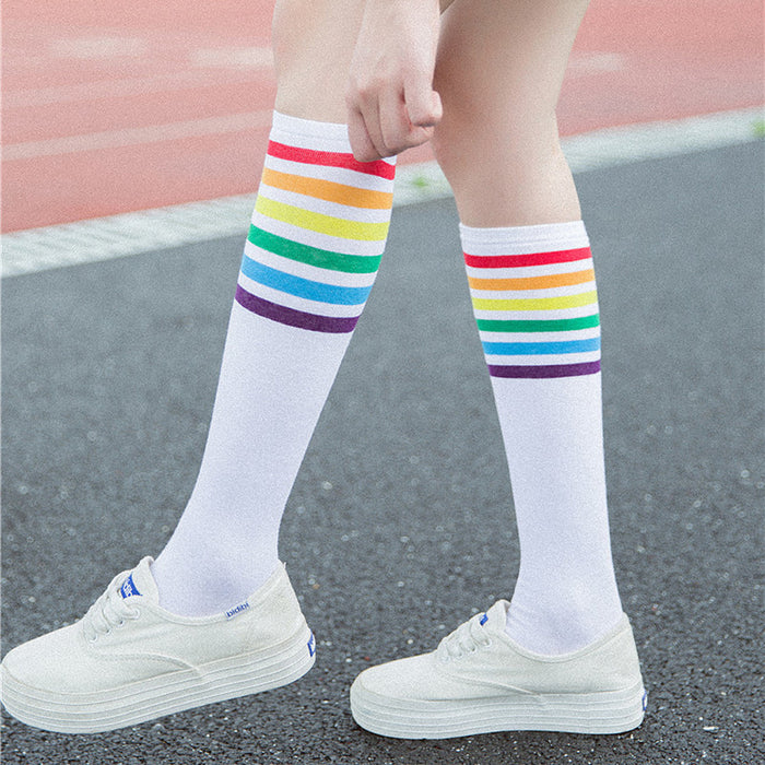 Socks high quality Thigh High Socks Over Knee Rainbow Stripe Girls long socks women over knee stripe 2019 New Arrival #N