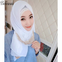 Muslim Islamic Scarves for Woman Gold Glitter Plain Color Chiffon Hijab