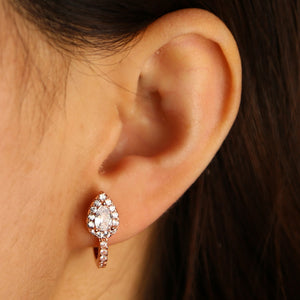 Wedding engagement CZ sparking jewelry small hoops teardrop cz silver rose