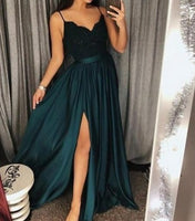 Long Evening Gowns 2019 Spaghetti Straps V-Neckline Sleeveless Lace Bodice