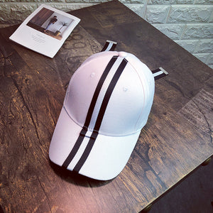 Women Patchwork Color Striped Baseball Cap Ladies Bow-knot Fashion Hip Hop Dad Hat Casual Baseball Hat For Female In Black White
