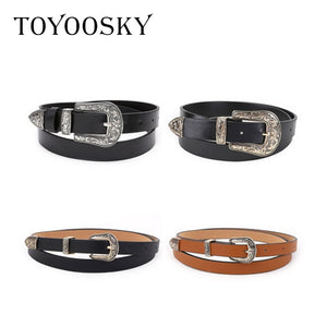TOYOOSKY Designers Women Belt Black PU Leather for Jeans Western Cowgirl