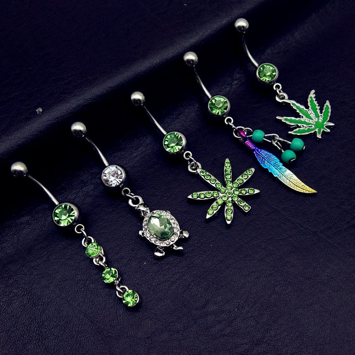 5pcs 2019 mix style green pot leaf feather tortoise bead dangle navel belly bar button rings body piercing jewelry  cheap