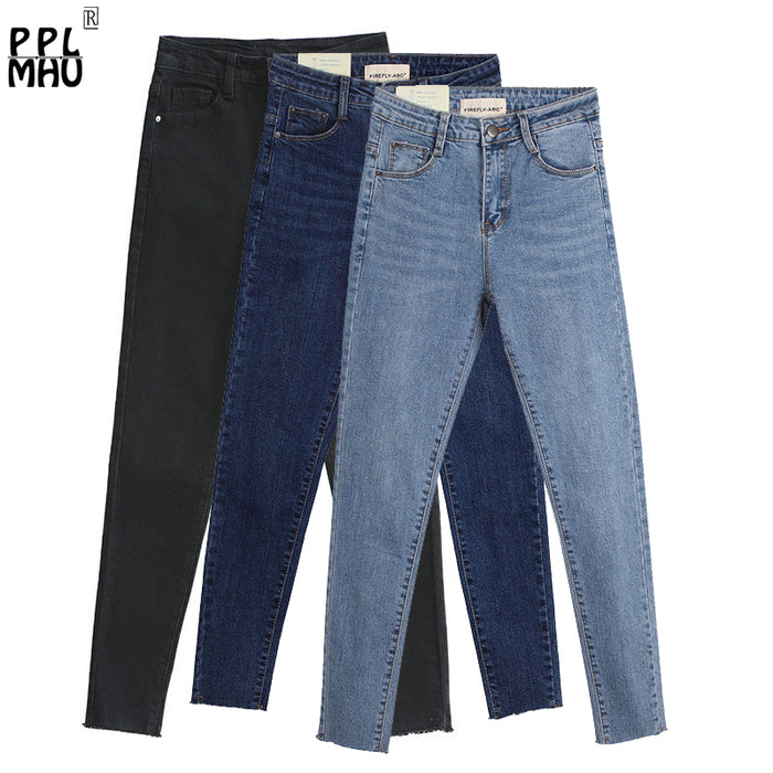 Skinny Slim Jeans For Women Vintage Style Black Women's Jeans Female Denim Pencil Pants Stretch Korean Jeans For Woman Summer