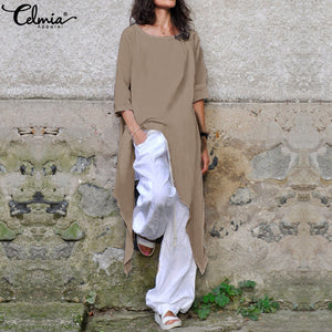 Celmia Plus Size Shirt Summer Loose Women Cotton Blouse Half Sleeve Casual Asymmetrical Tunic Tops Baggy Long Blusas Mujer S-5XL