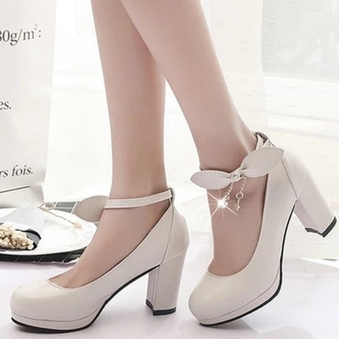 2018 New Mary Jane Ladies High Heels Wedding Shoes White Platform Shoes Lady