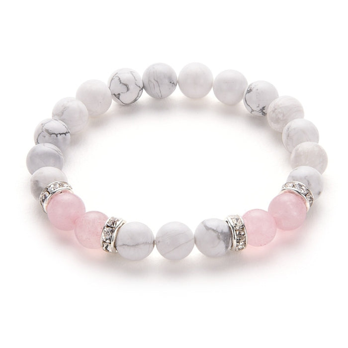 Poshfeel 8mm White And Pink Stone Beads Bracelets & Bangles Crystal Charm