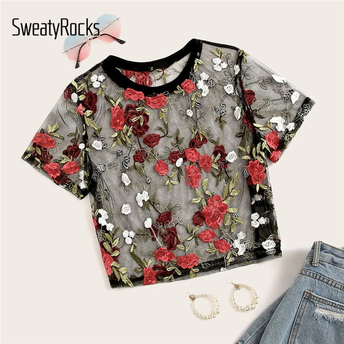 Flower Embroidered Crop Mesh Top Short Sleeve O-Neck Streetwear