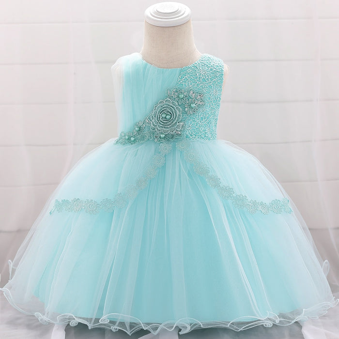 Lace Tutu Girls Party Dress Flower Beaded Applique Baby Dresses Floral New Born Birthday Baptism Princess Kids Dress L1903XZ