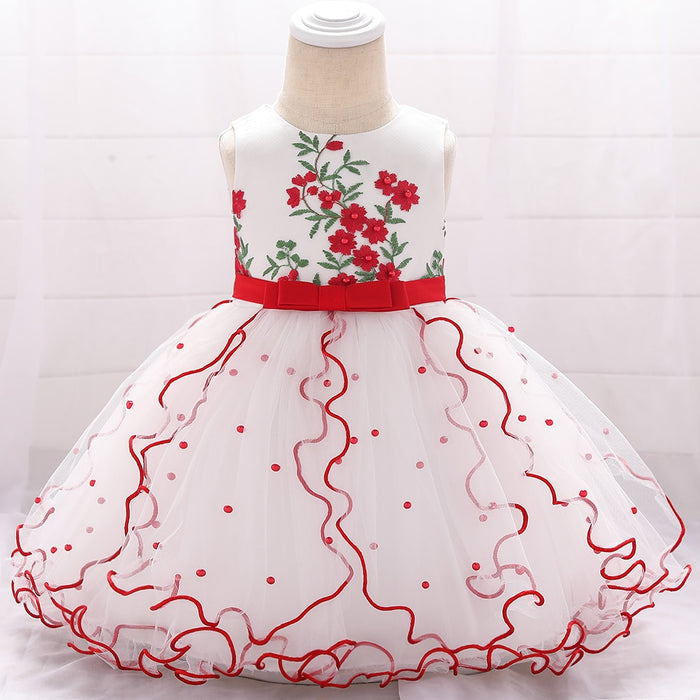 Beaded Embroidered Flower Tutu Lace New Born Baby Girl Dresses Birthday Baptism Princess Floral Kids Girl Baby Dress L1897XZ