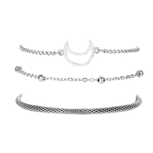 3Pcs/Set Women Multilayer Silver Moon Beads Bracelet Set for Women Bohemian