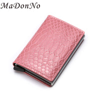 MaDonNo Anti-theft Bank Credit Card Holder Women Creditcard Slim Rfid Passes Metal Wallet Business Secure id Card Protection