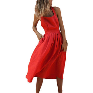 New Summer Women Sexy Backless Strappy Long Dress Boho Party Red Pleated Dresses Solid Beachwear Bandage Sundress Vestido Mujer