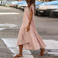 Plus Size Ruffle Dress Women's Asymmetrical Sundress ZANZEA 2019 Fashion Summer Midi Vestidos Female Short Sleeve Robe Femme 5XL