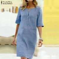 Elegant Women O Neck Short Sleeve Midi Dress Summer Solid
