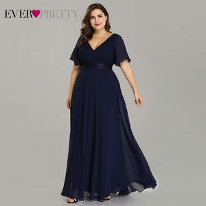 Plus Size Pink Prom Dresses Long Ever Pretty V-Neck Chiffon A-line Robe