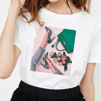 Womens Clothing Harajuku 100% Cotton Streetwear Kawaii Aesthetic T Shirt Graphic Tees Women 90s Gothic Korean Tops Plus Size