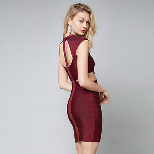 Fashion Sexy Backless Hollow Out Sleeveless Bandage Dress Bodycon Women Dresses Party Club Cocktail Vestidos