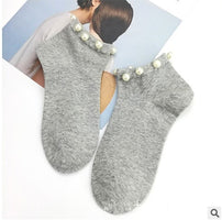 1 pair Summer Comfortable Cotton Shallow Mouth Socks for Girls Women's Cotton Lovely Casual Imitation Pearl Socks Solid Socks