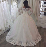 New Lace Sleeves Ball Gown Wedding Dress Buttons Back Tulle Bridal Gowns Plus
