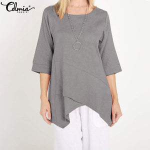 Celmia 2019 Summer Women Blouse Female Half Sleeve Loose Asymmetric