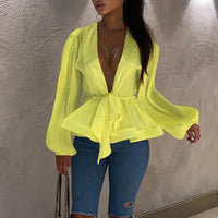 Bow sashes peplum tops women Sexy v neck long sleeve blouse shirt Lantern sleeve party blouse