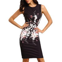 Summer Women Office Lady Dress Vintage Floral Print Dress Casual Women Tank Slim Bodycon Dress Sexy Pencil Party Dresses Vestido
