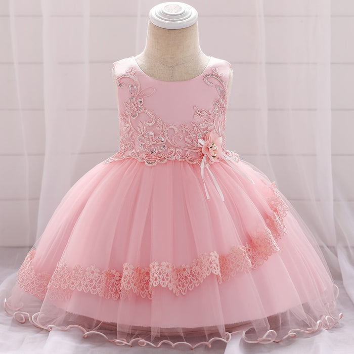 Embroidered Sequins Flower Lace Tutu Baby Girls Dresses Birthday Party Dress Girls Baptism Princess Wedding Baby Dress L1885XZ