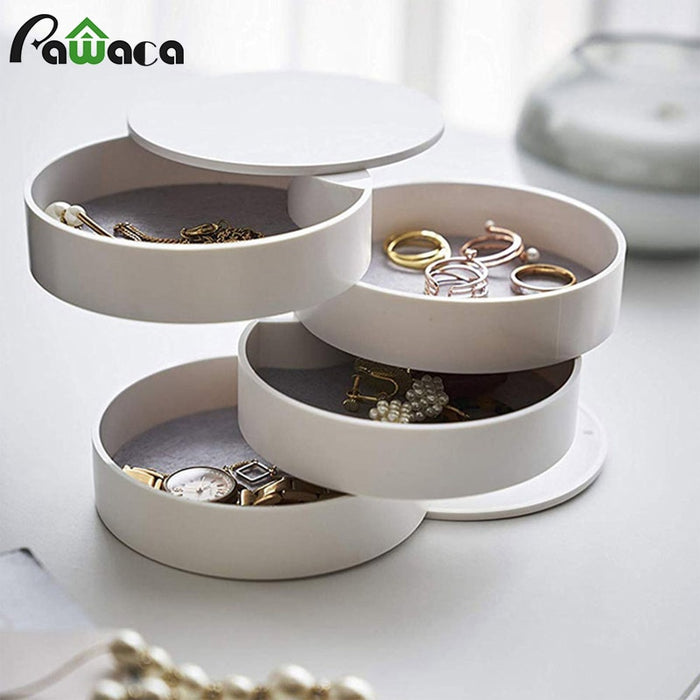 4 Layers Jewelry Storage Box 360 Degrees Rotary Holder Jewelry Organizer for Earrings Rubber Band Bracelet Small Items Organizer