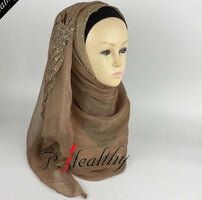 Gorgeous Embroidered Diamond Wedding Hijabs Muslim Scarf Shawl Islam Female Headscarf Double-layer Double-color Bride hijab