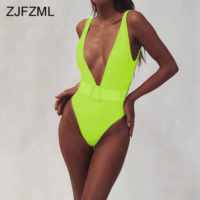 Summer Swimwear Neon Bodysuit Women V Neck Beach Skinny Jumpsuit