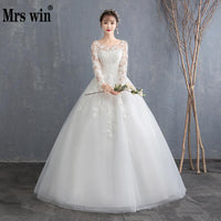 Cheap Wedding Dress 2019 New Mrs Win Full Sleeve Classic Embroidery