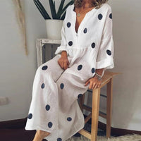 Vintage Women Linen Summer Dress 2019 Plus Size Female Beach Sundress Ladies Casual Print Polka Dot Long Vestidos