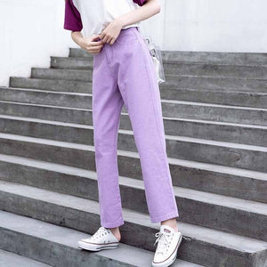 Fall White Mom Jeans Vintage High Waisted Wide Leg Jeans Women Cropped Baggy Straight Leg Jeans Chic Casual Denim Pants