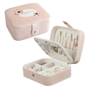 Women's Mini Stud Earrings Rings Jewelry Box Useful Makeup Organizer With Zipper Travel Portable Jewelry Box Display Case Gift