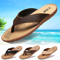 ZSUO Brand Genuine Leather Men Sandals 2019 Summer Flip Flops Slippers Shoes