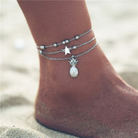 17MILE Vintage Multilayer Heart Infinite Map Anklets For Women 2019 Moon Star Ankle Bracelet On Leg Summer Beach Foot Jewelry