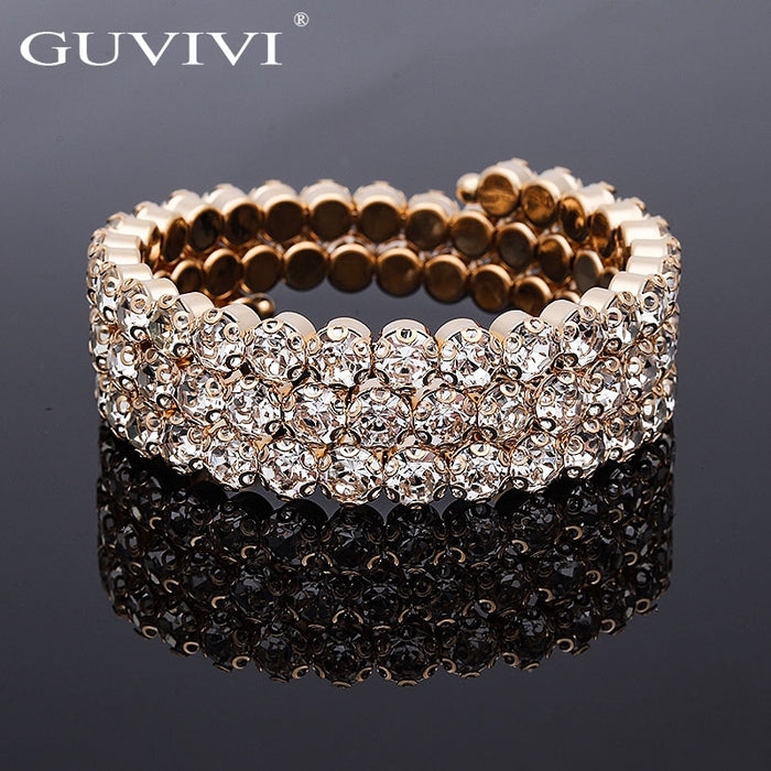 2019 Luxury Women Multi Layers Crystal Rhinestone Bracelets Bangles Gold Color