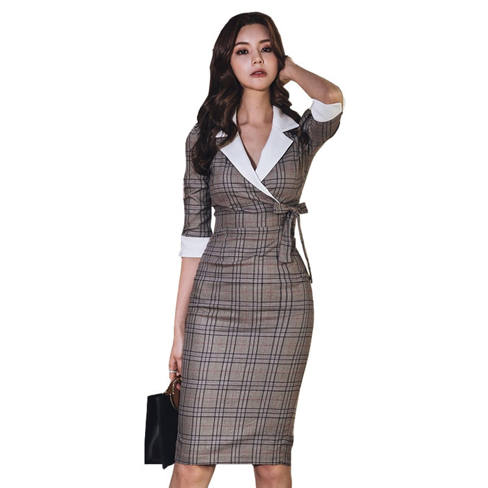 Women Sheath Dress Fashion Spring Notched Bow Pencil Dress Slim Bodycon