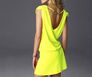 Sundress Women Summer Dress 2019 V Collar Sexy Dress Ladies Fashion Yellow Dress Plus Size Black White Backless Women Clothing