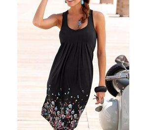 Summer Sleeveless Floral Print Loose Dress Six Colors Casual Women Dress Robe Femme Ete 2019 Sexy Dress Plus Size S-5XL Sundress