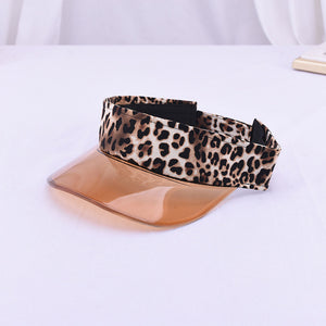 Outdoor Soft Brim Sun Visor Running Cap Summer Anti UV Sport Hiking Tennis Beach Empty Top Hat Headscarf Headband Women Leopard